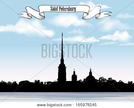 St. Petersburg landmark, Russia. Saint Peter and Paul Cathedral and Fortress, sunrise view from Neva river. Russian cityscape silhouette background.