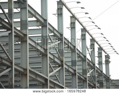 Gray Industrial building construction frames over white