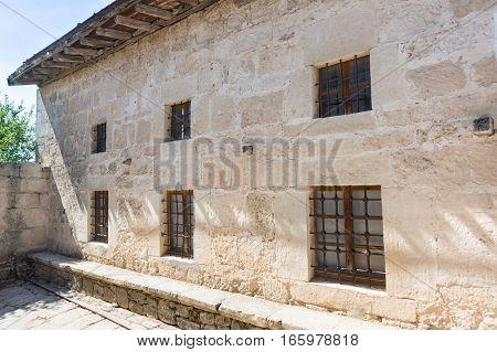 Wall Karaite kenassas in the medieval town-fortress Chufut-Kale Crimea Russia