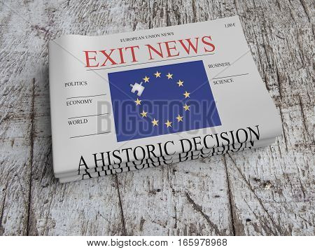EU Politics Concept: Pile of Newspapers Exit News On Scratched Old Wood 3d illustration
