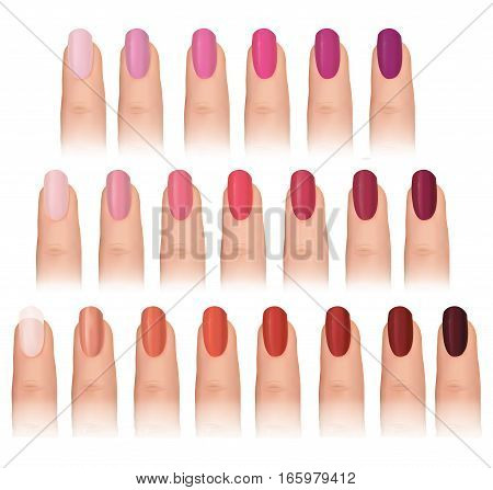Nail polish in different fashion colors. Nail care beauty salon set. Manicured finger isolated.