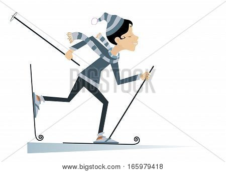Skier young woman. Cartoon skier woman illustration