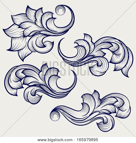 Hand drawn floral baroque engraving elements on grey backdrop. ector illustration