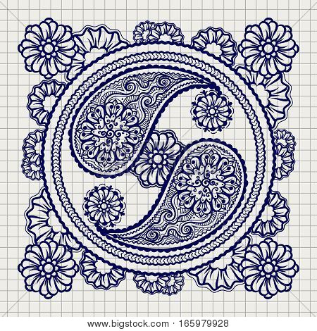 Hand drawn ornate yin-yang sign on notebook background. Vector illustration