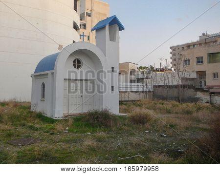 Small Greek Church In An Industrial Surroundings