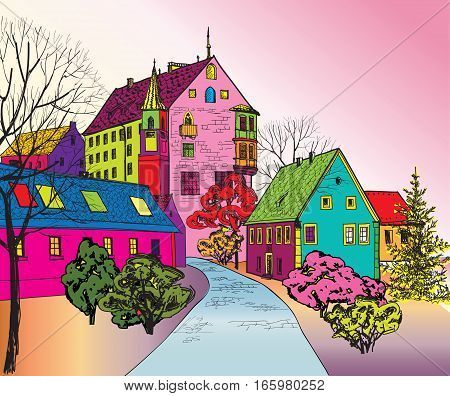 Street in old city. Cityscape - houses, tower, buildings and tree on alleyway. Old city view. Medieval european castle landscape. Funky journey background in 1960s pop art style.