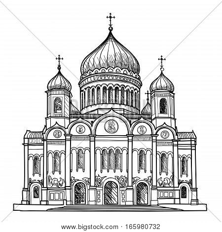 Cathedral of Christ the Savior in Moscow city Russia. Russian famous place travel sign. Engraving sketch illustration.
