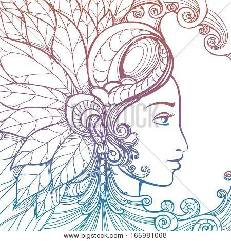 Zentangle woman face with ornate elements isolated on white background. Colorful tatoo tempate vector illustration
