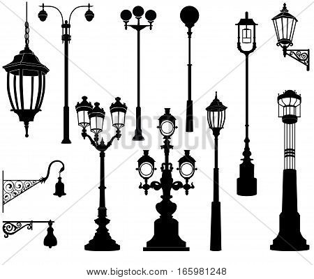 Street lamp set. Urban streetlight silhouette collection