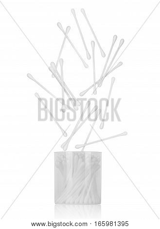 cotton ear sticks falling on white background