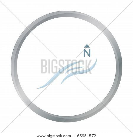 Northern wind icon in cartoon style isolated on white background. Weather symbol vector illustration.