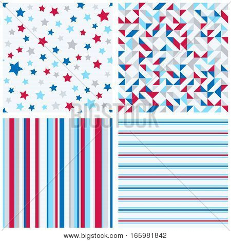 Set of four abstract geometric backgrounds in red blue white colors. Vector seamless patterns. One star pattern, two striped patterns and one geometric quilt pattern.