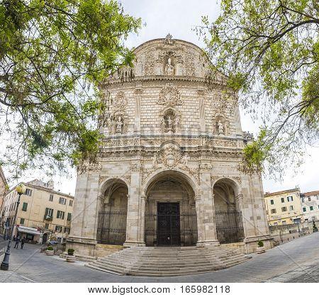 Facade view of San Nicola Cathedral (Duomo) in Sassari Sardinia Italy