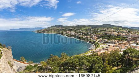 Panorama of North coast of Sardinia island Italy. Picturesque view from Castelsardo old town