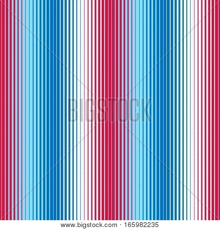 Abstract geometric background with lines in red blue white colors. Vector seamless patterns. Red, blue, white striped background.