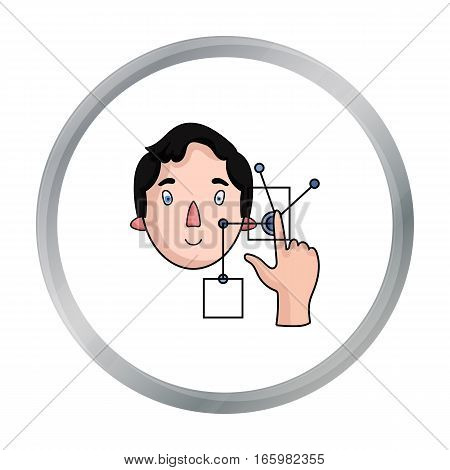 Man in the virtual reality icon in cartoon style isolated on white background. Virtual reality symbol vector illustration.