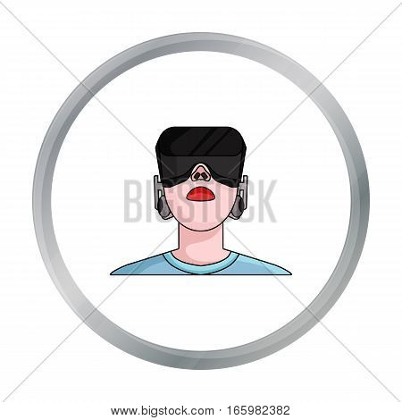 Player with virtual reality headcartoon icon in cartoon style isolated on white background. Virtual reality symbol stock vector illustration. - stock vector
