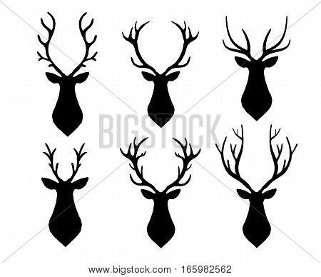 Vector deer head long horned silhouette set. Different horn shape. Web design, page sight poster banner print advertisement, phone case, t-shirt element