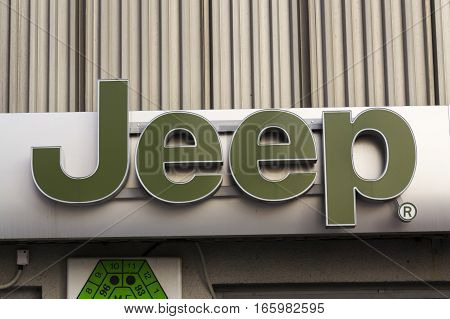Prague, Czech Republic - January 20: Jeep Company Logo On Dealership Building On January 20, 2017 In
