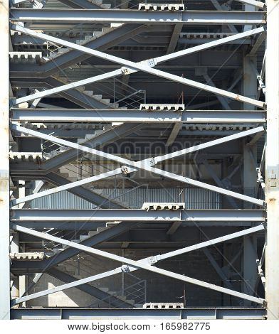 Gray Industrial building construction frames with ladders details