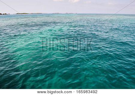 BARU CARTAGENA COLOMBIA - JANUARY 29 2014: The beautiful sea seen on a tour way to Baru from Cartagena.