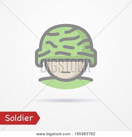 Typical simplistic soldier face in camouflage helmet. Man head isolated icon in line style with shadow. Army vector stock image.