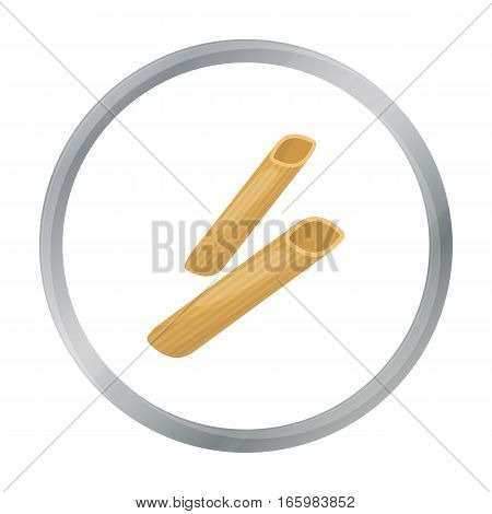 Penne rigate pasta icon in cartoon style isolated on white background. Types of pasta symbol vector illustration.