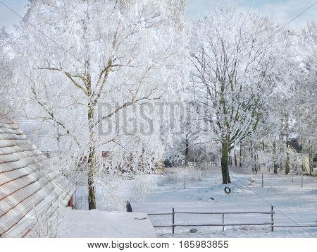Winterse witte blauwe landschap met oude schuur