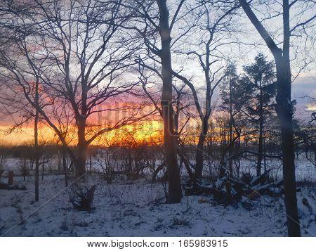 Zonsondergang bij winterse weer. Rood oranje achtergrond.
