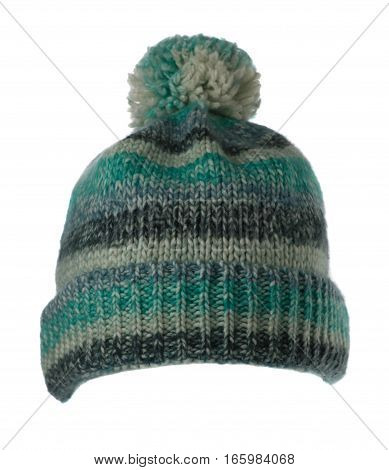 Knitted Hat Isolated On White Background .hat With Pompon .    Multicolored  Hat  .