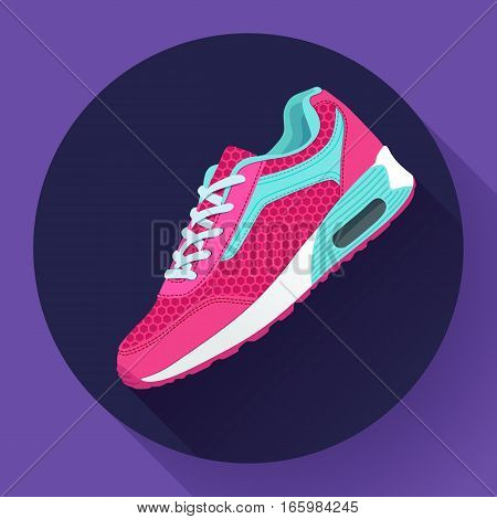 pink fitness sneakers shoes for training running shoe flat design with long shadow. Fitness app