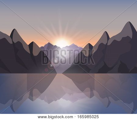 Stock vector illustration of a mountain landscape at sunset and at dawn on the lake with reflection in water for background, banner, website, printed materials, cards