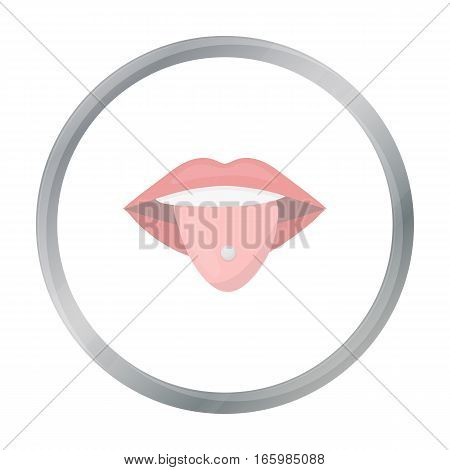 Pierced tongue icon cartoon. Single tattoo icon from the big studio cartoon. - stock vector