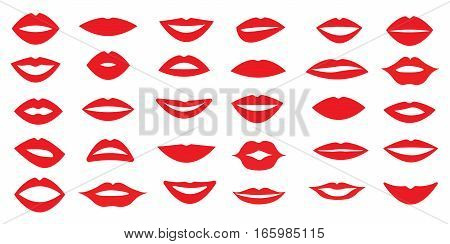 set of woman's lips. Different form of the lips. Different emotions. Vector illustration.