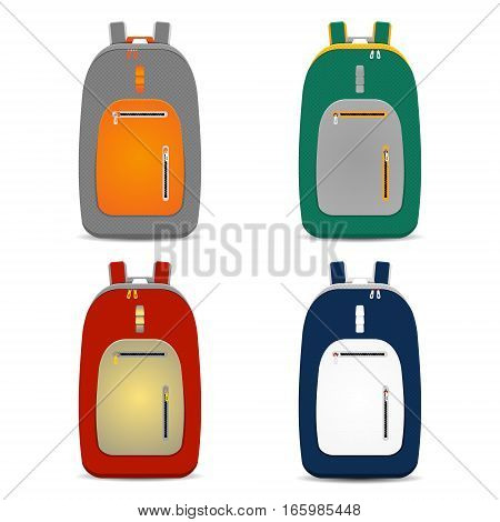 set of vector illustrations of backpack in flat design style