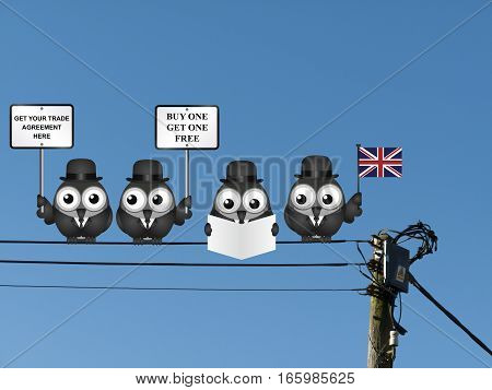 Comical United Kingdom Trade Agreement negotiation delegation following the June 2016 referendum to exit the European Union perched on electrical cables