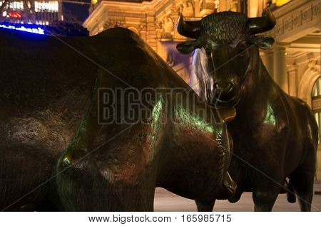 Frankfurt am Main, Hessen Germany - January 19 2016 : The Bull and Bear Statues at the Frankfurt Stock Exchange in Frankfurt Germany. Frankfurt Exchange is the 12th largest exchange by market capitalization.