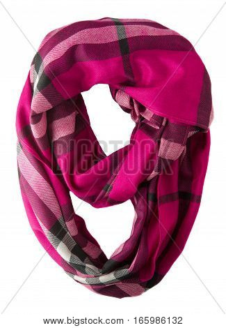 Scarf Isolated On White Background.scarf  Top View .red Pink Scarf In A Cage .