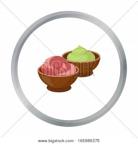 Wasabi and ginger icon in cartoon style isolated on white background. Sushi symbol vector illustration.