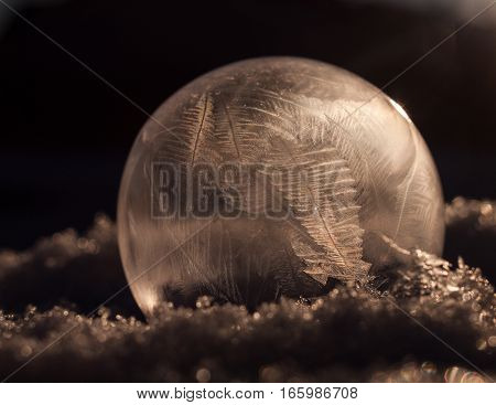 A soap bubble that froze on contact with the cold