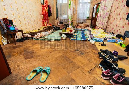 Sleeping and eating area for refugees in the temporary apartment for living (existence)