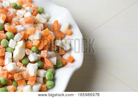 Frozen Vegetables On A Plate