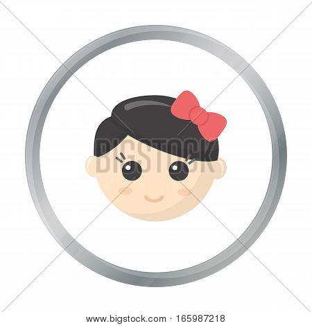 Girl face cartoon icon. Illustration for web and mobile.