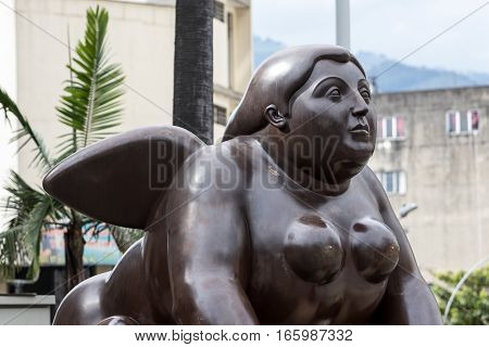 October 16, 2016 Medellin, Colombia: a Botero surrealist statue exposed in the plaza named after the author in the country's second largest city