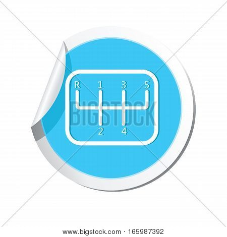 Stick shift icon on the sticker. Vector illustration