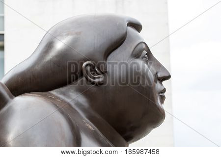October 16, 2016 Medellin, Colombia: closeup details of one of Botero's statues publicly displayed in the city centre