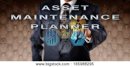 Recruitment agent in blue business suit touching ASSET MAINTENANCE PLANNER on an interactive virtual computer monitor. Oil and gas industry engineering job in preventative and corrective maintenance.