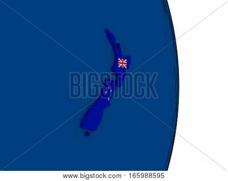 New Zealand With Its Flag
