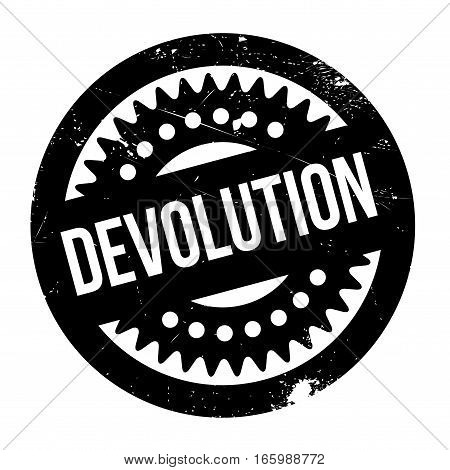 Devolution rubber stamp. Grunge design with dust scratches. Effects can be easily removed for a clean, crisp look. Color is easily changed.
