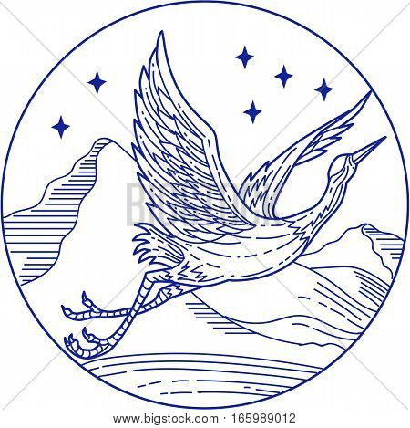 Mono line style illustration of a great blue heron flying viewed from the side set inside circle with stars and mountain in the background.